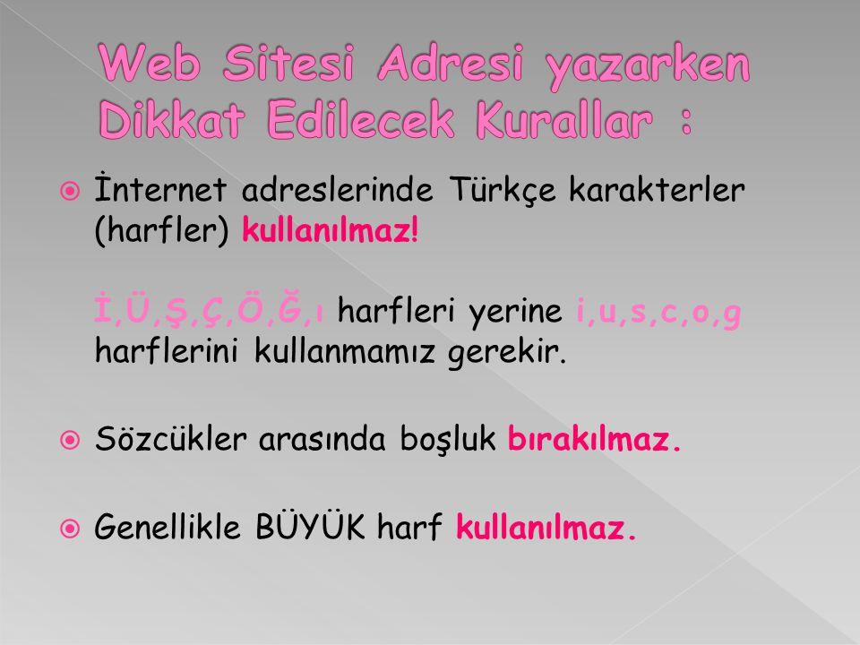  İnternet adreslerinde Türkçe karakterler (harfler) kullanılmaz! İ,Ü,Ş,Ç,Ö,Ğ,ı harfleri yerine i,u,s,c,o,g harflerini kullanmamız gerekir.  Sözcükle