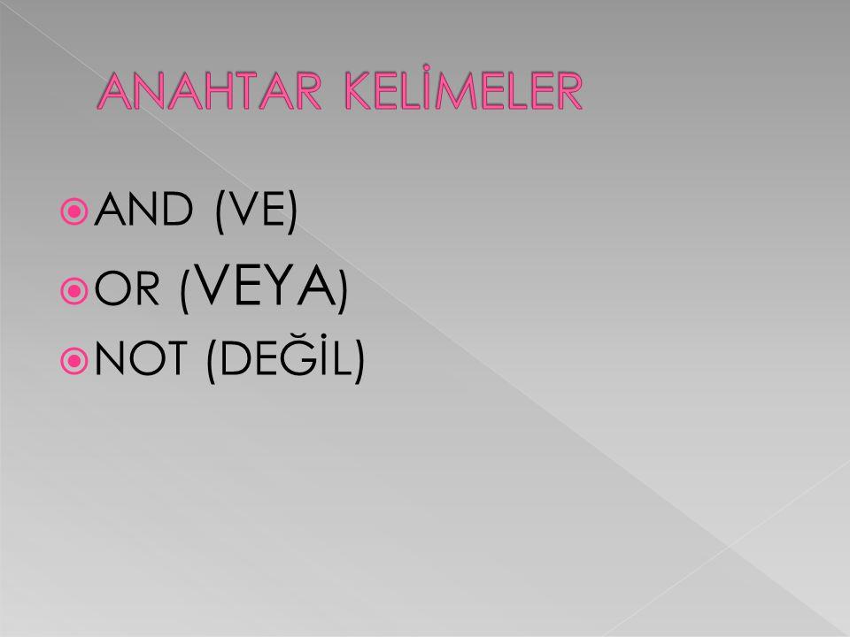  AND (VE)  OR ( VEYA )  NOT (DEĞİL)