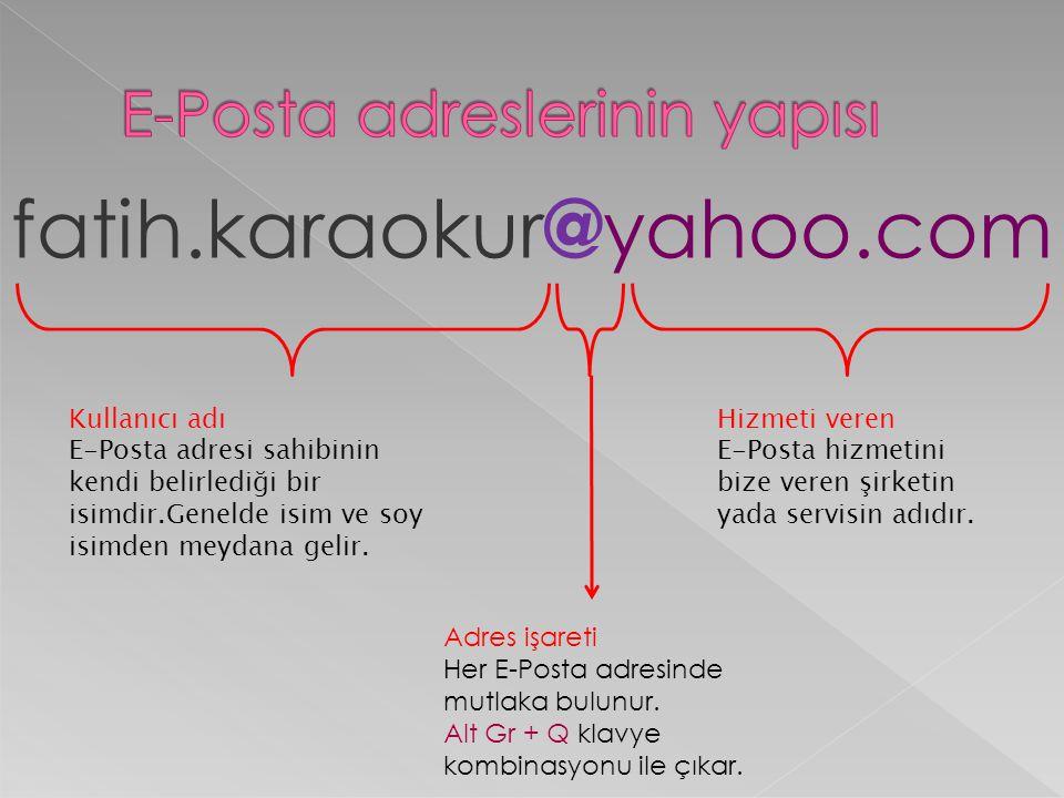fatih.karaokur @ yahoo.com Kullanıcı adı E-Posta adresi sahibinin kendi belirlediği bir isimdir.Genelde isim ve soy isimden meydana gelir. Adres işare