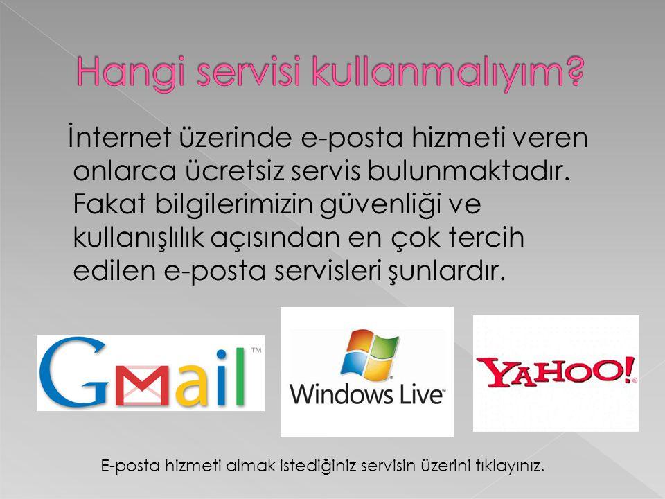 İnternet üzerinde e-posta hizmeti veren onlarca ücretsiz servis bulunmaktadır. Fakat bilgilerimizin güvenliği ve kullanışlılık açısından en çok tercih