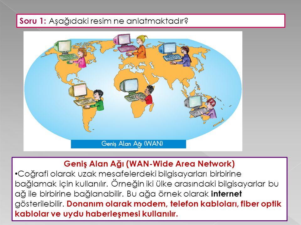 Geniş Alan Ağı (WAN-Wide Area Network) Coğrafi olarak uzak mesafelerdeki bilgisayarları birbirine bağlamak için kullanılır. Örneğin iki ülke arasındak