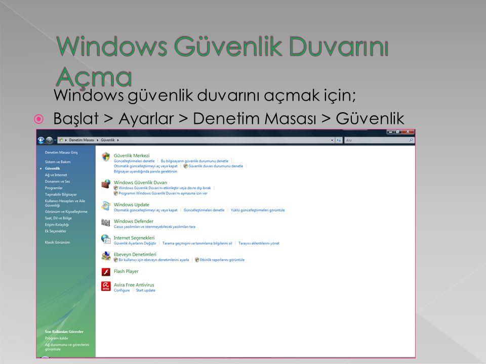 Windows güvenlik duvarını açmak için;  Başlat > Ayarlar > Denetim Masası > Güvenlik
