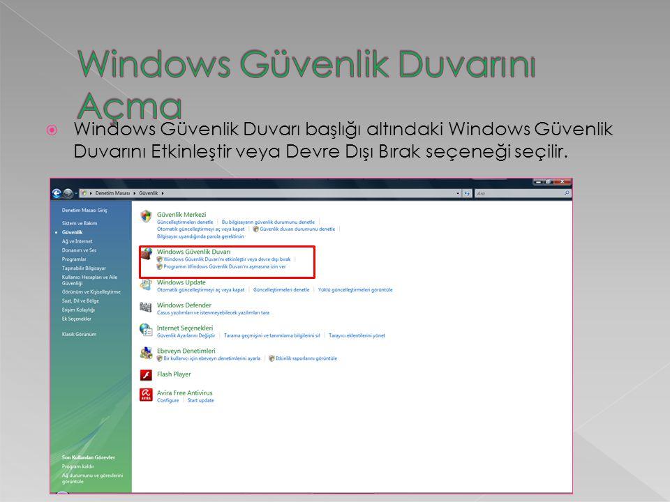  Windows Güvenlik Duvarı başlığı altındaki Windows Güvenlik Duvarını Etkinleştir veya Devre Dışı Bırak seçeneği seçilir.
