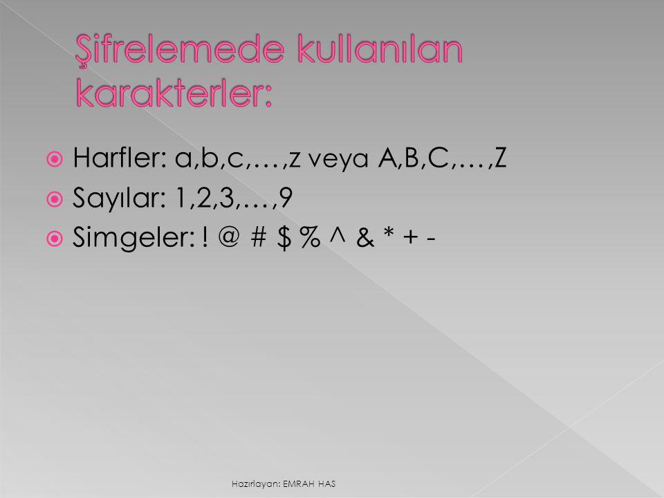  Harfler: a,b,c,…,z veya A,B,C,…,Z  Sayılar: 1,2,3,…,9  Simgeler: ! @ # $ % ^ & * + - Hazırlayan: EMRAH HAS