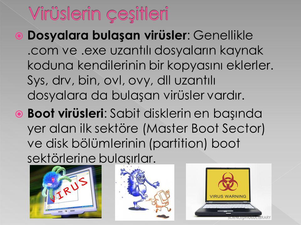  Dosyalara bulaşan virüsler : Genellikle.com ve.exe uzantılı dosyaların kaynak koduna kendilerinin bir kopyasını eklerler. Sys, drv, bin, ovl, ovy, d