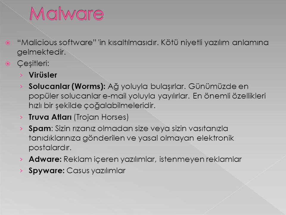 """ """"Malicious software"""" 'in kısaltılmasıdır. Kötü niyetli yazılım anlamına gelmektedir.  Çeşitleri: › Virüsler › Solucanlar (Worms): Ağ yoluyla bulaşı"""