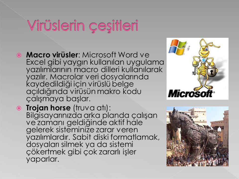  Macro virüsler : Microsoft Word ve Excel gibi yaygın kullanılan uygulama yazılımlarının macro dilleri kullanılarak yazılır. Macrolar veri dosyaların