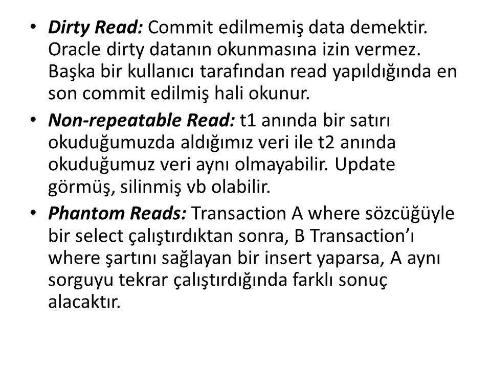 Dirty Read: Commit edilmemiş data demektir. Oracle dirty datanın okunmasına izin vermez. Başka bir kullanıcı tarafından read yapıldığında en son commi