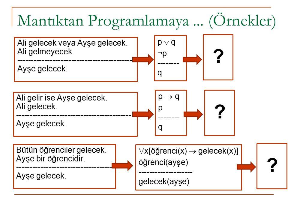 Mantıktan Programlamaya... (Örnekler) Ali gelecek veya Ayşe gelecek. Ali gelmeyecek. ------------------------------------------- Ayşe gelecek. p  q ¬