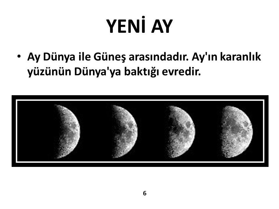 YENİ AY Ay Dünya ile Güneş arasındadır. Ay'ın karanlık yüzünün Dünya'ya baktığı evredir. 6