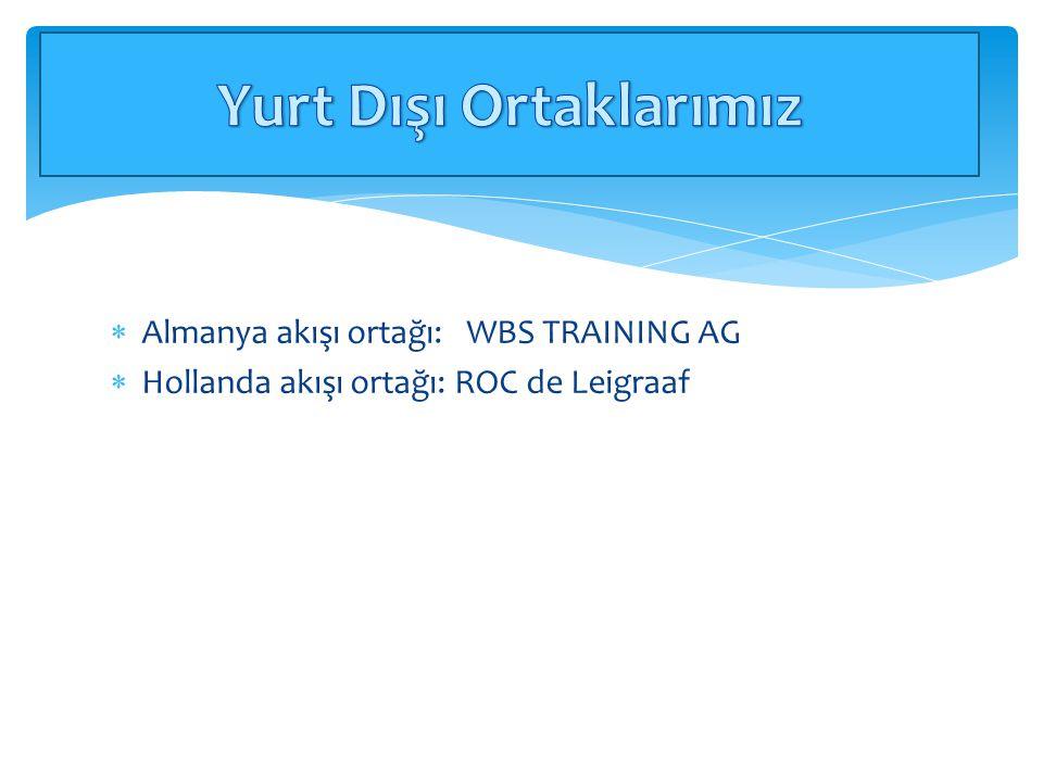  Almanya akışı ortağı: WBS TRAINING AG  Hollanda akışı ortağı: ROC de Leigraaf