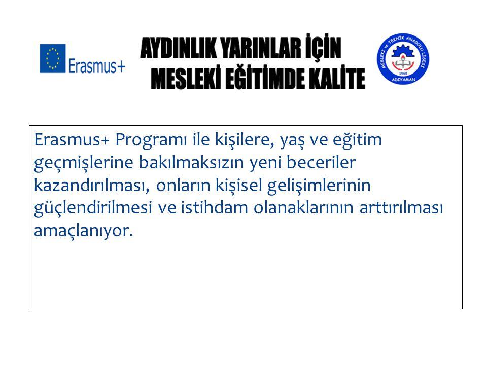 Erasmus+ Programı ile kişilere, yaş ve eğitim geçmişlerine bakılmaksızın yeni beceriler kazandırılması, onların kişisel gelişimlerinin güçlendirilmesi
