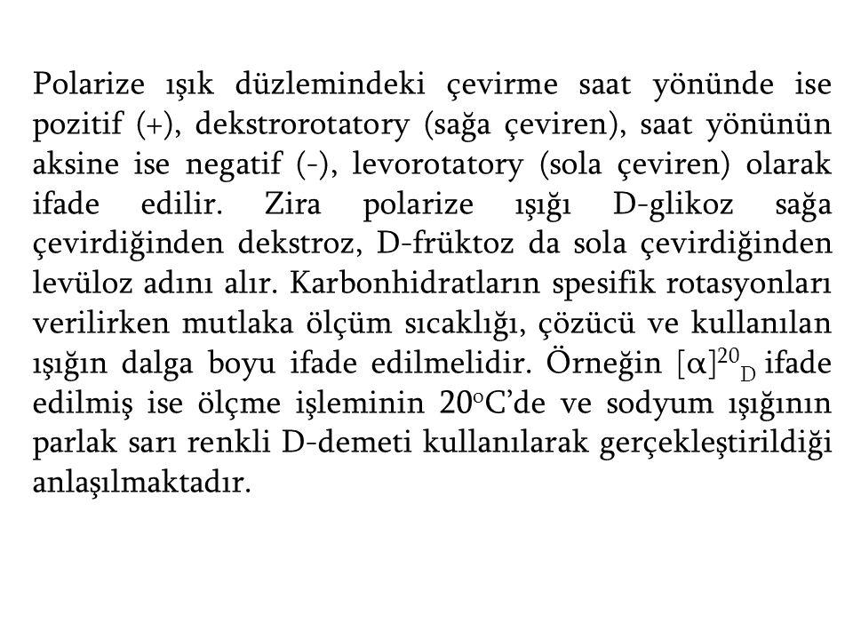 Polarize ışık düzlemindeki çevirme saat yönünde ise pozitif (+), dekstrorotatory (sağa çeviren), saat yönünün aksine ise negatif (-), levorotatory (so