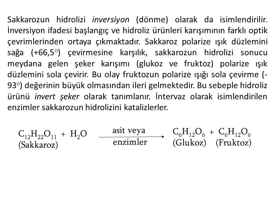 Sakkarozun hidrolizi inversiyon (dönme) olarak da isimlendirilir. İnversiyon ifadesi başlangıç ve hidroliz ürünleri karışımının farklı optik çevrimler