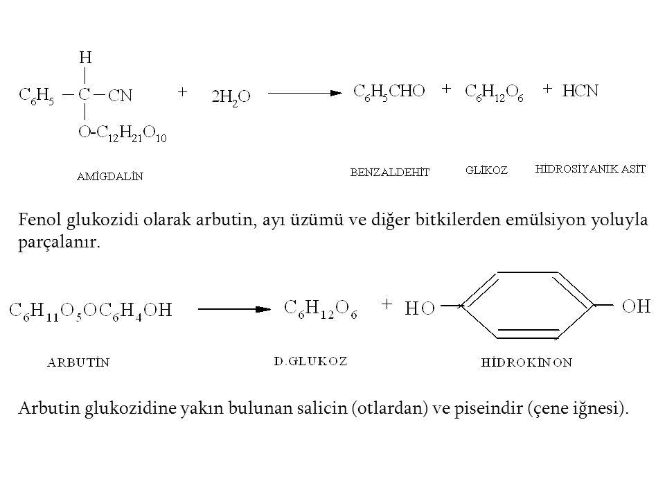 Fenol glukozidi olarak arbutin, ayı üzümü ve diğer bitkilerden emülsiyon yoluyla parçalanır. Arbutin glukozidine yakın bulunan salicin (otlardan) ve p