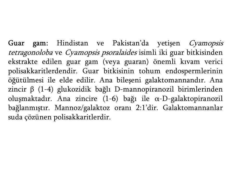 Guar gam: Hindistan ve Pakistan'da yetişen Cyamopsis tetragonoloba ve Cyamopsis psoralaides isimli iki guar bitkisinden ekstrakte edilen guar gam (vey