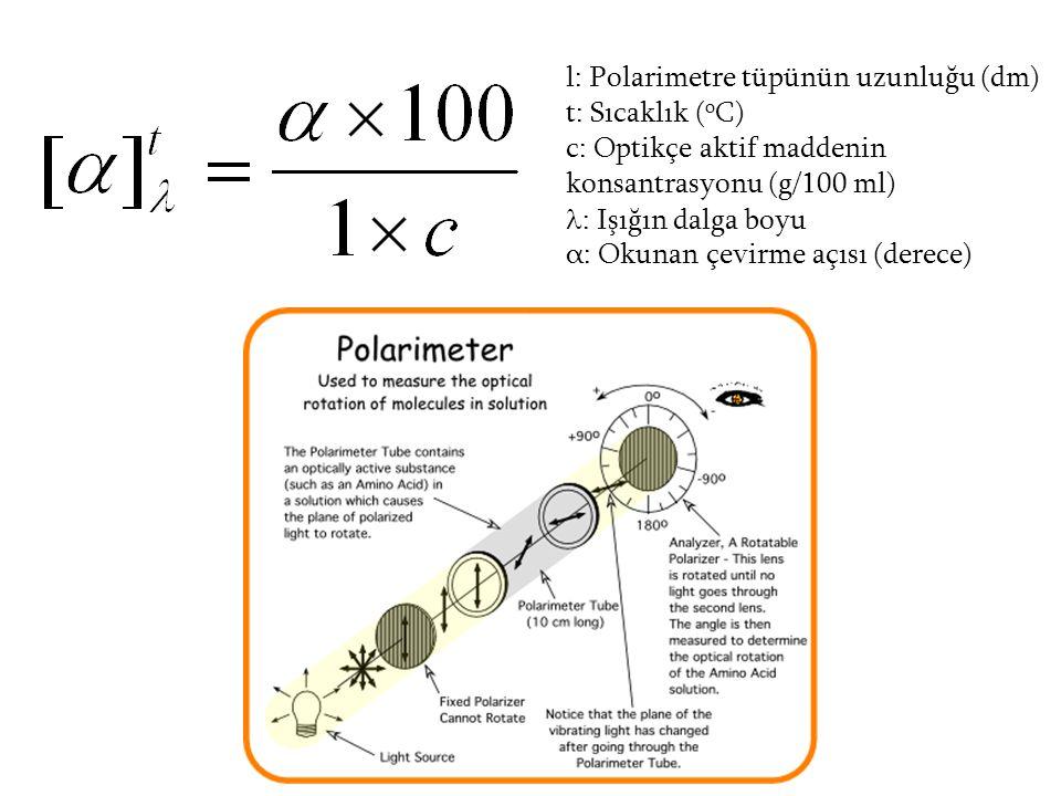 l: Polarimetre tüpünün uzunluğu (dm) t: Sıcaklık ( o C) c: Optikçe aktif maddenin konsantrasyonu (g/100 ml) : Işığın dalga boyu α: Okunan çevirme açıs