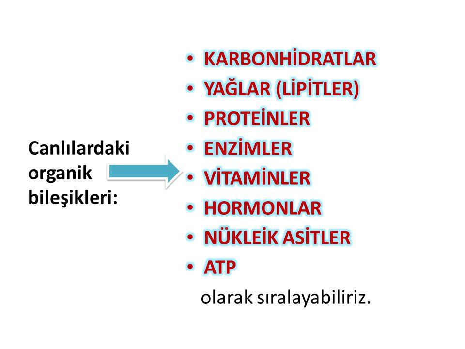 Canlılardaki organik bileşikleri: