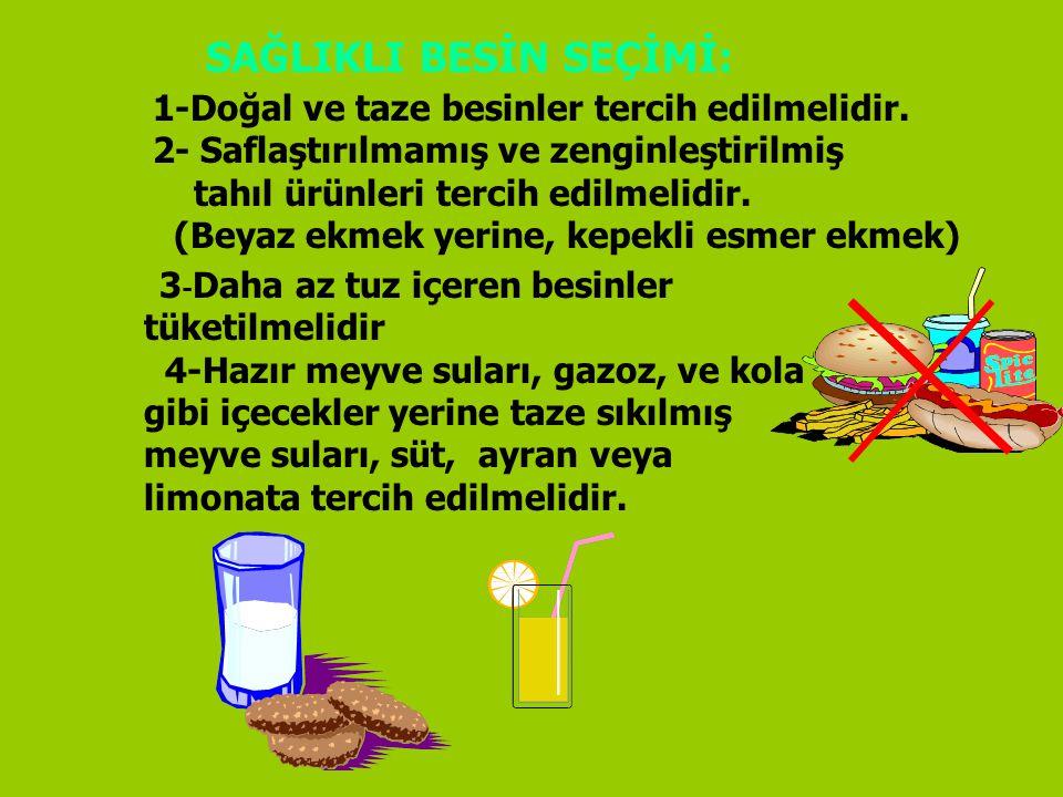 SAĞLIKLI BESİN SEÇİMİ: 1-Doğal ve taze besinler tercih edilmelidir. 2- Saflaştırılmamış ve zenginleştirilmiş tahıl ürünleri tercih edilmelidir. (Beyaz