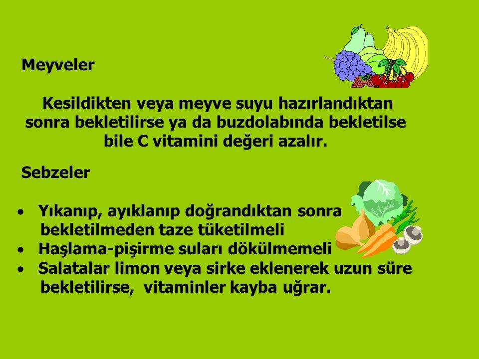 Meyveler Kesildikten veya meyve suyu hazırlandıktan sonra bekletilirse ya da buzdolabında bekletilse bile C vitamini değeri azalır. Sebzeler  Yıkanıp