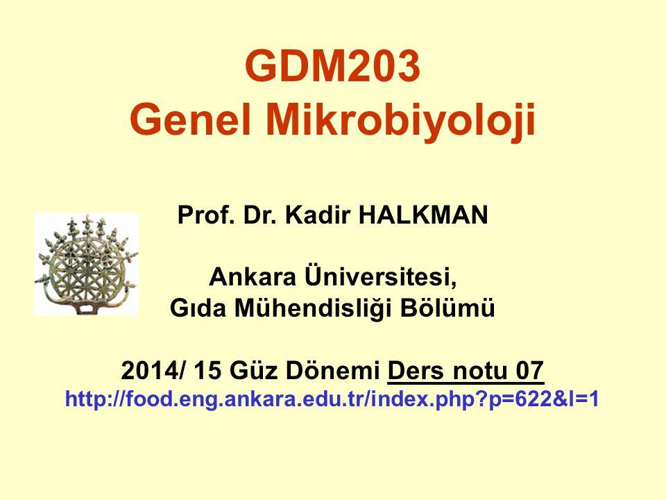 GDM203 Genel Mikrobiyoloji Prof. Dr. Kadir HALKMAN Ankara Üniversitesi, Gıda Mühendisliği Bölümü 2014/ 15 Güz Dönemi Ders notu 07 http://food.eng.anka