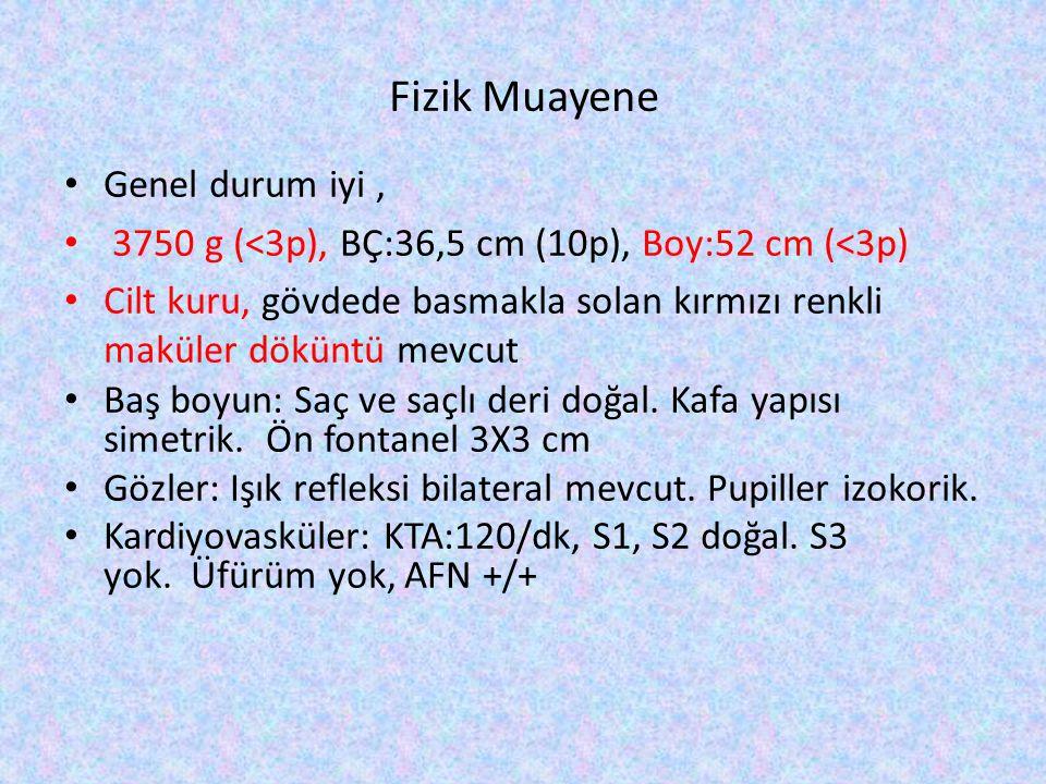 Fizik Muayene Genel durum iyi, 3750 g (<3p), BÇ:36,5 cm (10p), Boy:52 cm (<3p) Cilt kuru, gövdede basmakla solan kırmızı renkli maküler döküntü mevcut