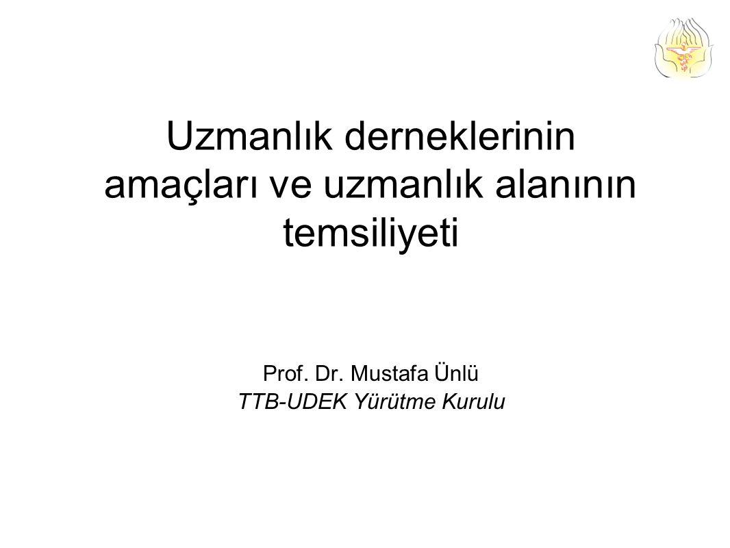 Uzmanlık derneklerinin amaçları ve uzmanlık alanının temsiliyeti Prof.