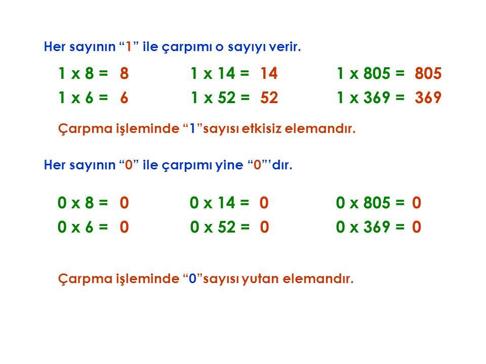 """Her sayının """"1"""" ile çarpımı o sayıyı verir. Çarpma işleminde """"1""""sayısı etkisiz elemandır. 1 x 8 =8 1 x 6 =6 1 x 14 =14 1 x 52 =52 1 x 805 =805 1 x 369"""