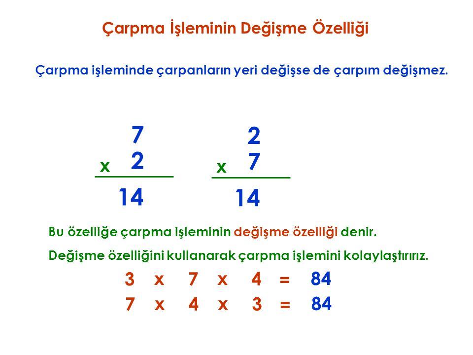 Çarpma İşleminin Birleşme Özelliği Üç terimli çarpma işleminde; Bu özelliğe çarpma işleminin birleşme özelliği denir.
