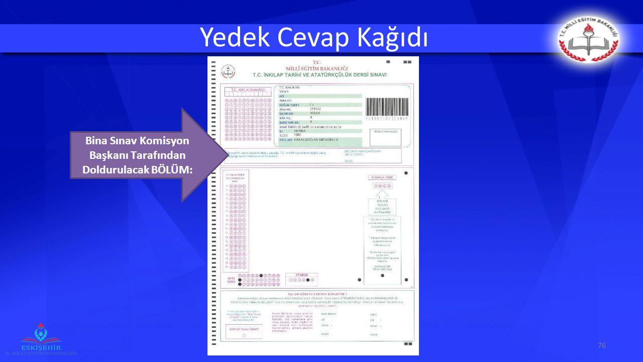 Yedek Cevap Kağıdı 76 Bina Sınav Komisyon Başkanı Tarafından Doldurulacak BÖLÜM: