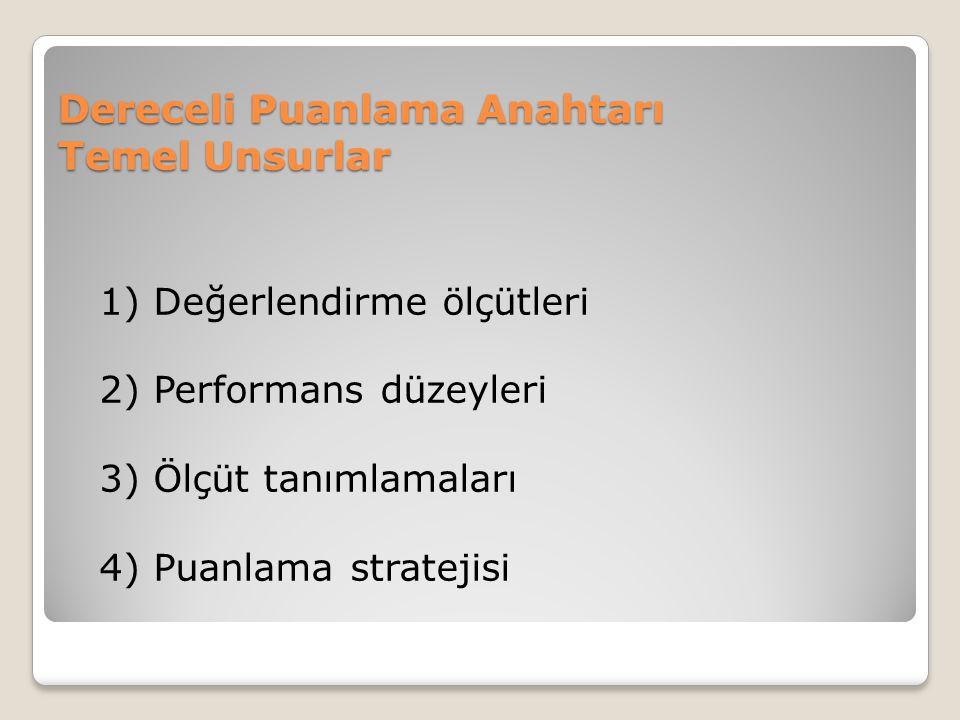 Dereceli Puanlama Anahtarı Temel Unsurlar 1) Değerlendirme ölçütleri 2) Performans düzeyleri 3) Ölçüt tanımlamaları 4) Puanlama stratejisi