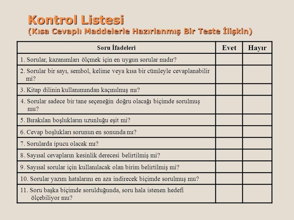 Kontrol Listesi (Kısa Cevaplı Maddelerle Hazırlanmış Bir Teste İlişkin) Soru İfadeleri EvetHayır 1. Sorular, kazanımları ölçmek için en uygun sorular