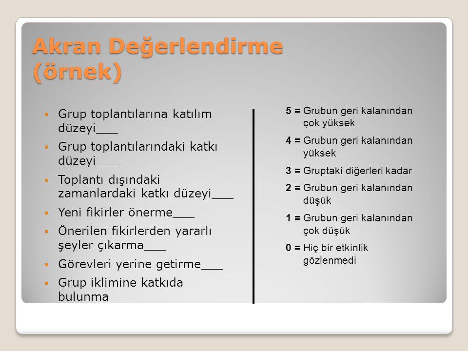 Akran Değerlendirme (örnek)  Grup toplantılarına katılım düzeyi___  Grup toplantılarındaki katkı düzeyi___  Toplantı dışındaki zamanlardaki katkı d
