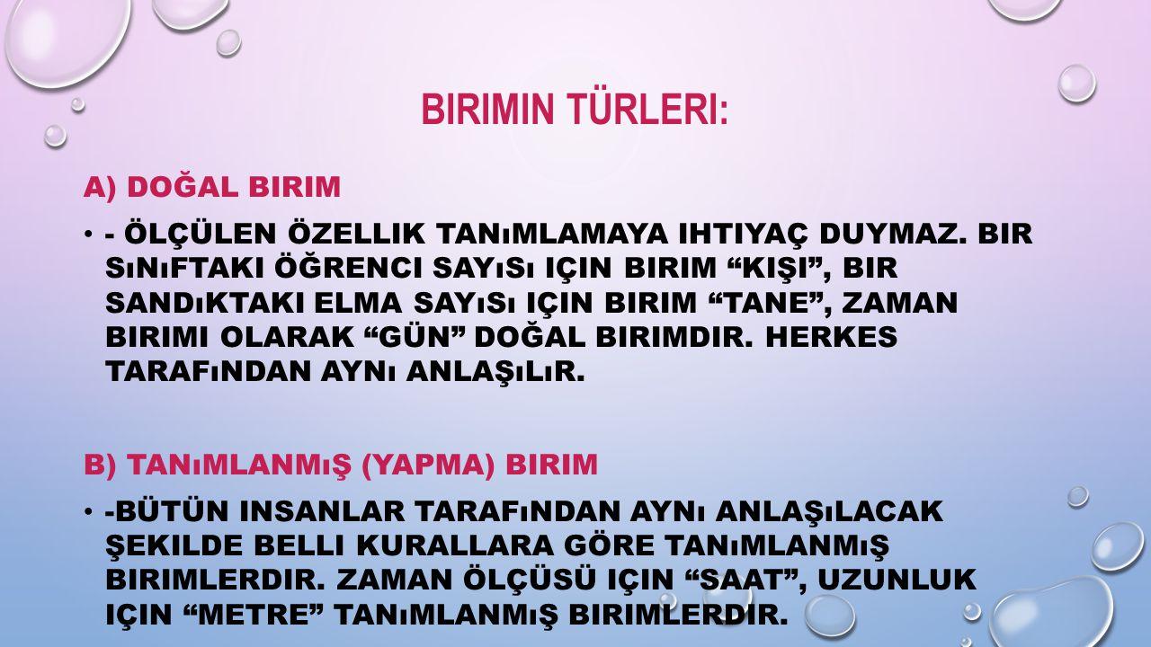 """BIRIMIN TÜRLERI: A) DOĞAL BIRIM - ÖLÇÜLEN ÖZELLIK TANıMLAMAYA IHTIYAÇ DUYMAZ. BIR SıNıFTAKI ÖĞRENCI SAYıSı IÇIN BIRIM """"KIŞI"""", BIR SANDıKTAKI ELMA SAYı"""