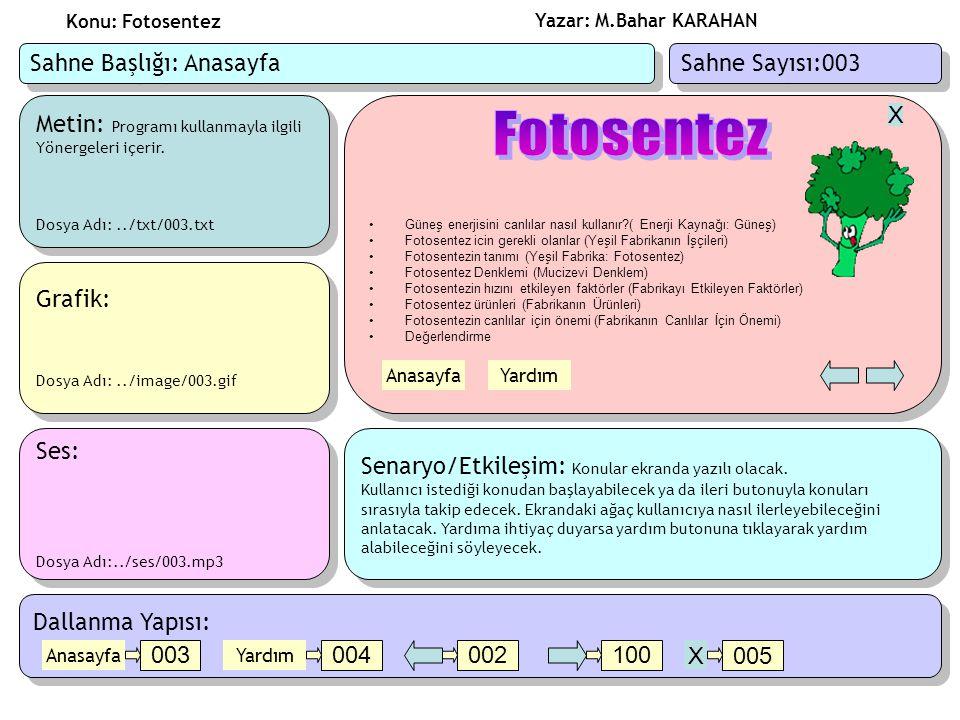 Yazar: M.Bahar KARAHAN Konu: Fotosentez Metin: Programı kullanmayla ilgili Yönergeleri içerir.