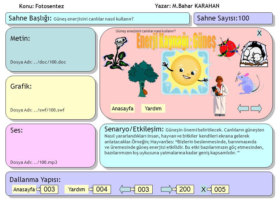 Yazar: M.Bahar KARAHAN Konu: Fotosentez Metin: Dosya Adı:../doc/100.doc Metin: Dosya Adı:../doc/100.doc Ses: Dosya Adı:../100.mp3 Ses: Dosya Adı:../100.mp3 Grafik: Dosya Adı:../swf/100.swf Grafik: Dosya Adı:../swf/100.swf Senaryo/Etkileşim: Güneşin önemi belirtilecek.