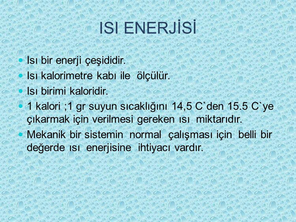 ISI ENERJİSİ Isı bir enerji çeşididir. Isı kalorimetre kabı ile ölçülür. Isı birimi kaloridir. 1 kalori ;1 gr suyun sıcaklığını 14,5 C`den 15.5 C`ye ç