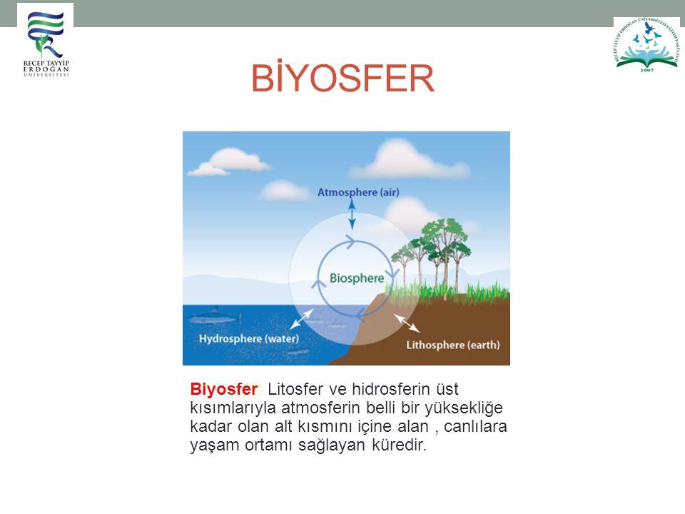 BİYOSFER Biyosfer: Litosfer ve hidrosferin üst kısımlarıyla atmosferin belli bir yüksekliğe kadar olan alt kısmını içine alan, canlılara yaşam ortamı