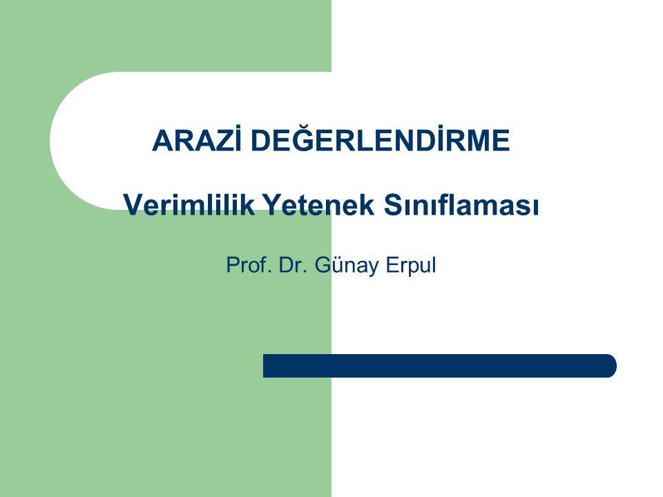 ARAZİ DEĞERLENDİRME Verimlilik Yetenek Sınıflaması Prof. Dr. Günay Erpul