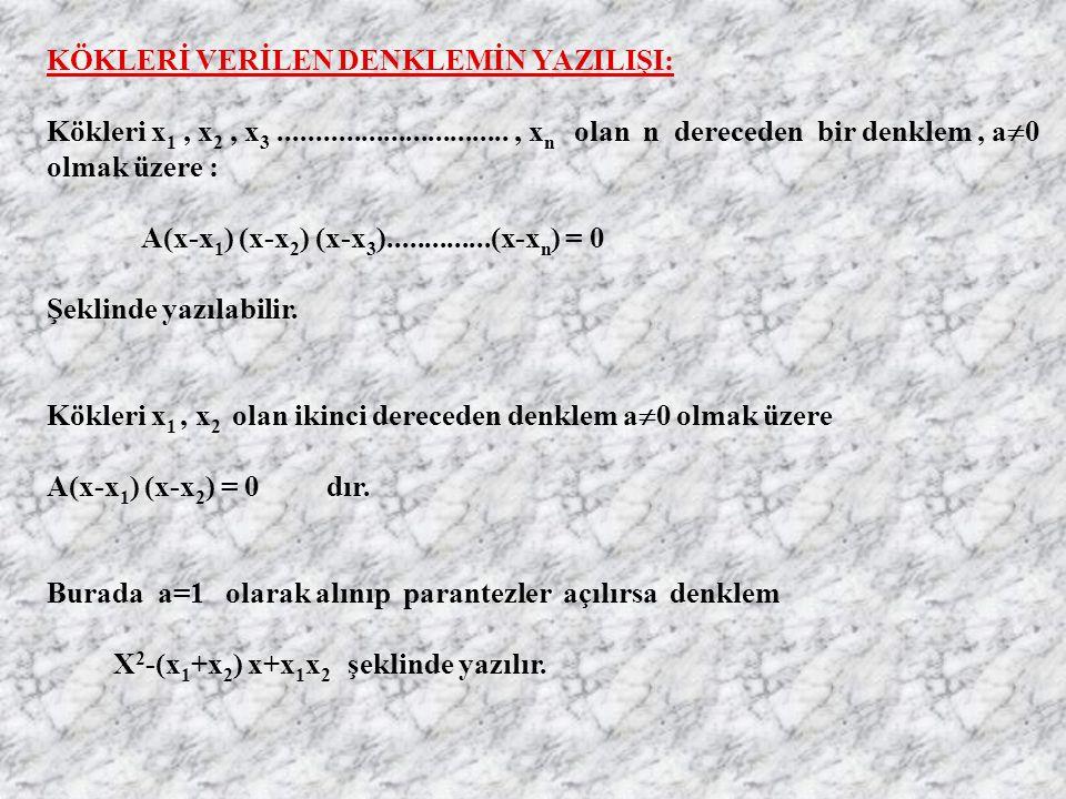 KÖKLERİ VERİLEN DENKLEMİN YAZILIŞI: Kökleri x1 x1, x2 x2, x3 x3..............................., x n olan n dereceden bir denklem, a0a0 olmak üzere : A(x-x 1 ) (x-x 2 ) (x-x 3 )..............(x-x n ) = 0 Şeklinde yazılabilir.