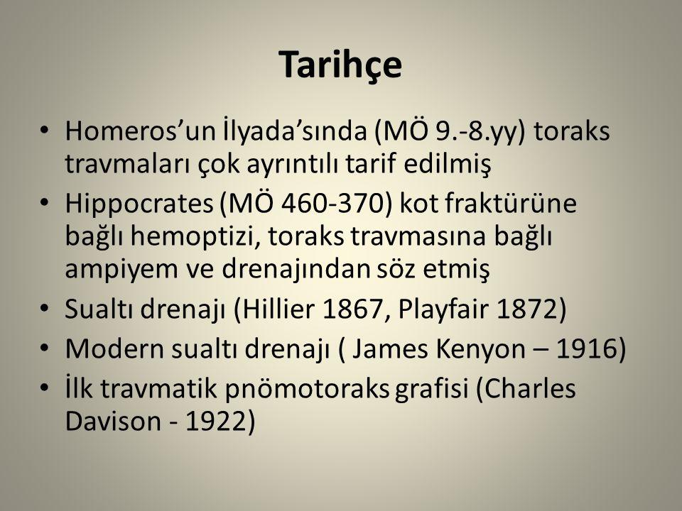 Tarihçe Homeros'un İlyada'sında (MÖ 9.-8.yy) toraks travmaları çok ayrıntılı tarif edilmiş Hippocrates (MÖ 460-370) kot fraktürüne bağlı hemoptizi, toraks travmasına bağlı ampiyem ve drenajından söz etmiş Sualtı drenajı (Hillier 1867, Playfair 1872) Modern sualtı drenajı ( James Kenyon – 1916) İlk travmatik pnömotoraks grafisi (Charles Davison - 1922)