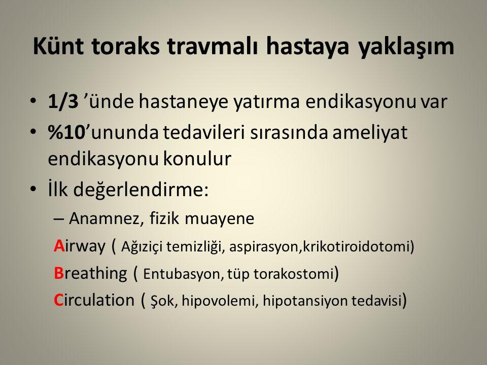 Künt toraks travmalı hastaya yaklaşım 1/3 'ünde hastaneye yatırma endikasyonu var %10'ununda tedavileri sırasında ameliyat endikasyonu konulur İlk değerlendirme: – Anamnez, fizik muayene Airway ( Ağıziçi temizliği, aspirasyon,krikotiroidotomi) Breathing ( Entubasyon, tüp torakostomi ) Circulation ( Şok, hipovolemi, hipotansiyon tedavisi )