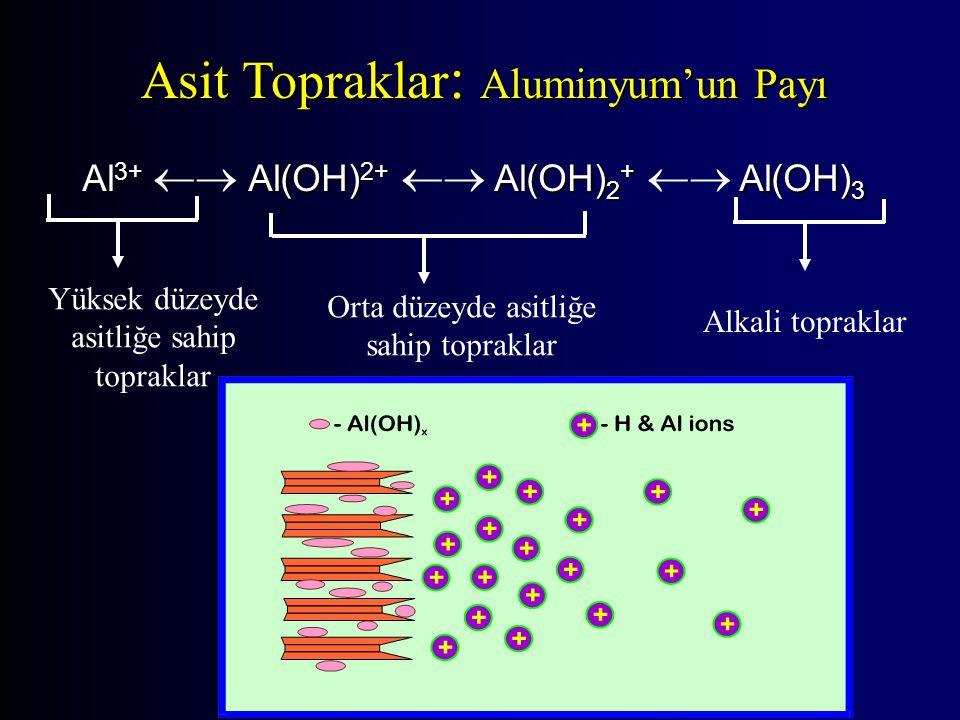 Asit Topraklar : Aluminyum'un Payı Al 3+ Al(OH) 2+ Al(OH) 2 + Al(OH) 3 Al 3+  Al(OH) 2+  Al(OH) 2 +  Al(OH) 3 Yüksek düzeyde asitliğe sahip topraklar Orta düzeyde asitliğe sahip topraklar Alkali topraklar