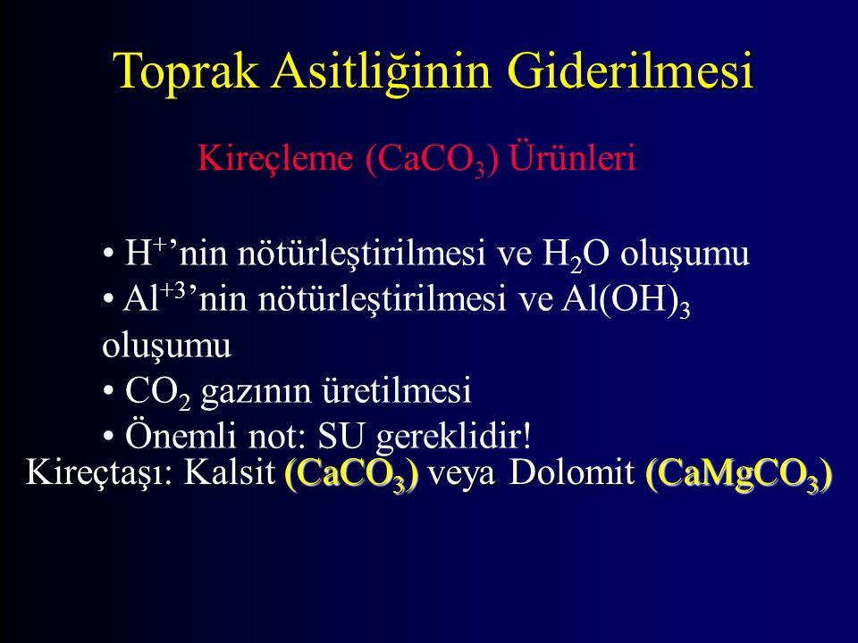 Toprak Asitliğinin Giderilmesi Kireçleme (CaCO 3 ) Ürünleri H + 'nin nötürleştirilmesi ve H 2 O oluşumu Al +3 'nin nötürleştirilmesi ve Al(OH) 3 oluşumu CO 2 gazının üretilmesi Önemli not: SU gereklidir.