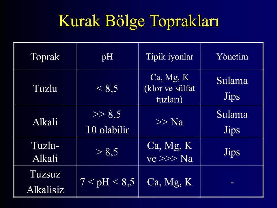 Toprak pHTipik iyonlarYönetim Tuzlu< 8,5< 8,5 Ca, Mg, K (klor ve sülfat tuzları) Sulama Jips Alkali >> 8,5 10 olabilir >> Na Sulama Jips Tuzlu- Alkali > 8,5> 8,5 Ca, Mg, K ve >>> Na Jips Tuzsuz Alkalisiz 7 < pH < 8,5Ca, Mg, K- Kurak Bölge Toprakları