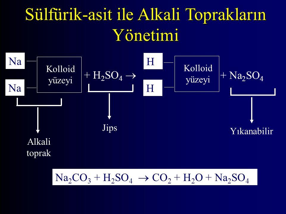 Sülfürik-asit ile Alkali Toprakların Yönetimi Kolloid yüzeyi Na + H 2 SO 4  + Na 2 SO 4 Kolloid yüzeyi Alkali toprak Yıkanabilir Jips Na Na 2 CO 3 + H 2 SO 4  CO 2 + H 2 O + Na 2 SO 4 H H