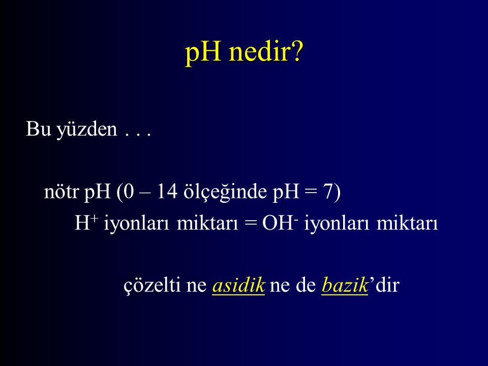 Bu yüzden... nötr pH (0 – 14 ölçeğinde pH = 7) H + iyonları miktarı = OH - iyonları miktarı çözelti ne asidik ne de bazik'dir pH nedir?