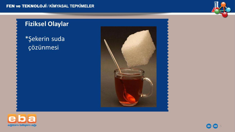 FEN ve TEKNOLOJİ / KİMYASAL TEPKİMELER 6 Kimyasal Olaylar *Mumun yanması