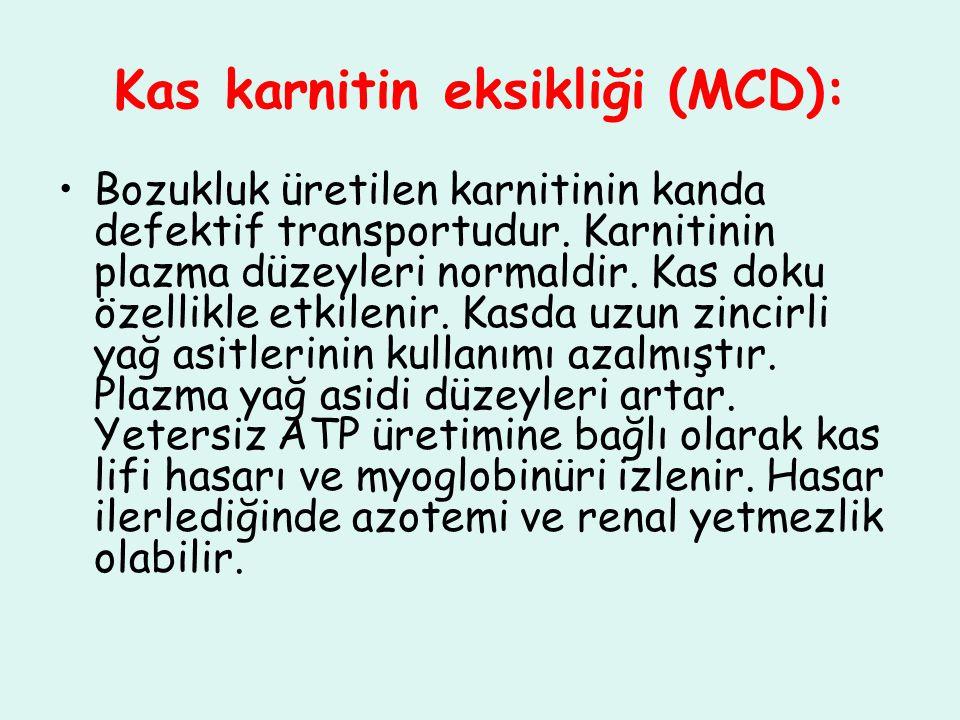 Kas karnitin eksikliği (MCD): Bozukluk üretilen karnitinin kanda defektif transportudur. Karnitinin plazma düzeyleri normaldir. Kas doku özellikle etk