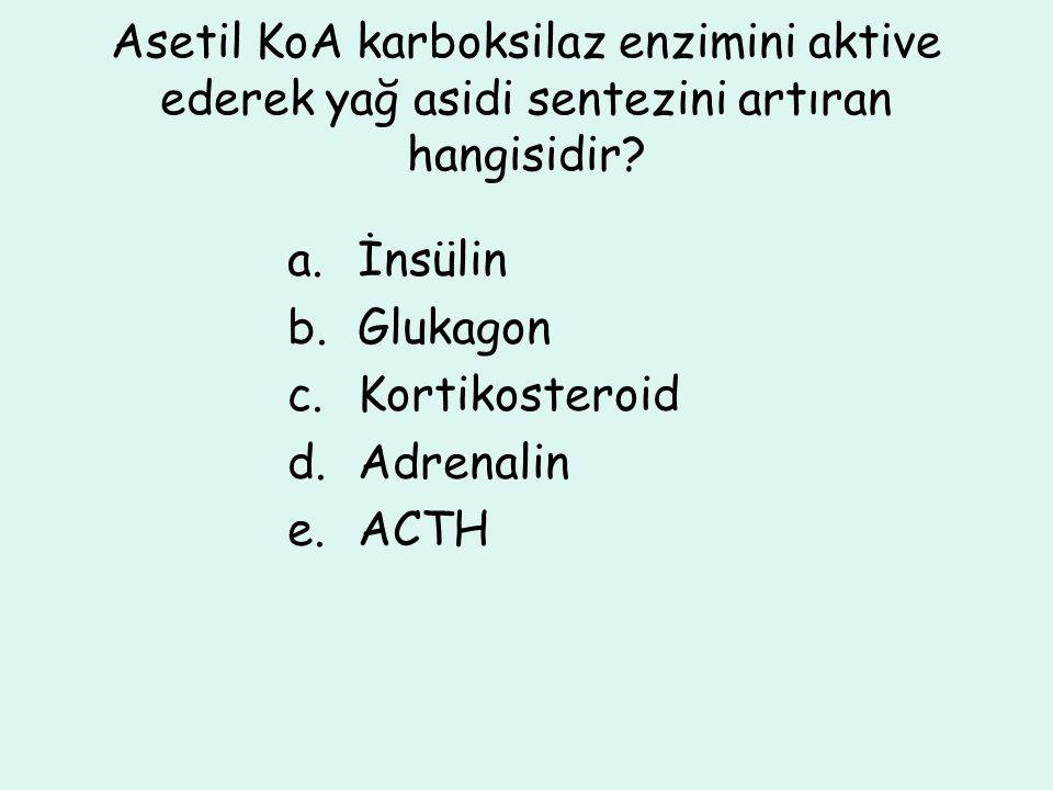 Asetil KoA karboksilaz enzimini aktive ederek yağ asidi sentezini artıran hangisidir? a.İnsülin b.Glukagon c.Kortikosteroid d.Adrenalin e.ACTH
